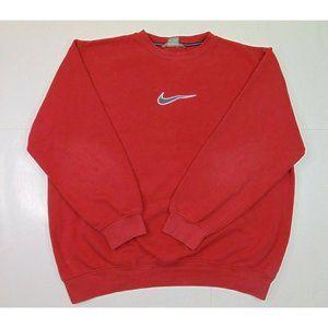 Vintage Nike Men XL Crewneck Sweatshirt Big Center Swoosh Logo Pullover Red